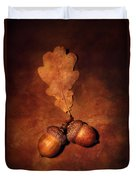 Two Brown Acorns Duvet Cover