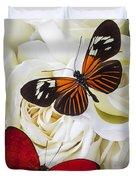 Two Butterflies On White Roses Duvet Cover