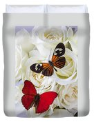 Two Butterflies On White Roses Duvet Cover