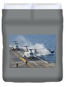 Two Ch-46e Sea Knight Helicopters Duvet Cover