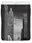 Two Chicago Classics- Carbide And Carbon And Wrigley Building Duvet Cover by Christine Till