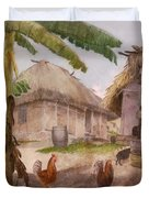 Two Chickens Two Pigs And Huts Jamaica Duvet Cover