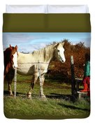 Two Children Admire Horses Duvet Cover