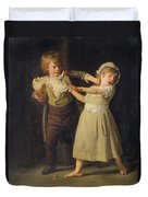 Two Children Fighting Over A Piece Of Bread Duvet Cover
