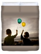 Two Children With Balloons Duvet Cover