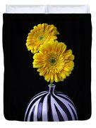 Two Daises In Striped Vase Duvet Cover