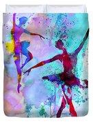 Two Dancing Ballerinas Watercolor 2 Duvet Cover