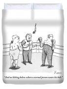 Two Elderly Men Meet In A Boxing Ring Duvet Cover by Zachary Kanin