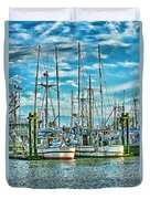 Two Fishing Boats Hdr Duvet Cover