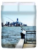 Two Fishing Poles Duvet Cover