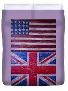 Two Flags American And British Duvet Cover