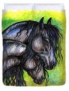 Two Fresian Horses Duvet Cover