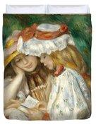 Two Girls Reading Duvet Cover