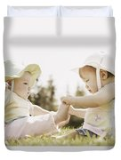 Two Girls Sit Together Duvet Cover