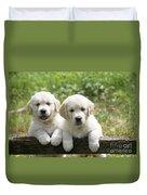 Two Golden Retriever Puppies Duvet Cover