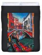 Two Gondolas In Venice Duvet Cover
