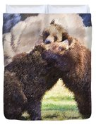 Two Grizzly Bears Ursus Arctos Play Fighting Duvet Cover