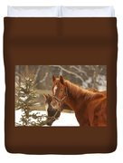 Two Horses In Winter Day Duvet Cover