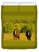 Two Horses Walking Along Duvet Cover