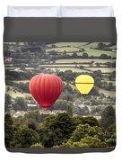 Two Hot Air Baloons Drifting Duvet Cover