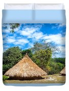 Two Indigenous Huts Duvet Cover