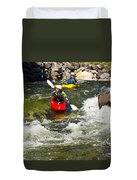 Two Kayakers On A Whitewater Course Duvet Cover