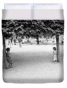 Two Kids In Paris Duvet Cover