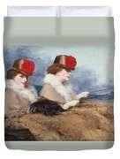 Two Ladies In A Carriage Ride Duvet Cover