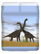 Two Large Brachiosaurus In Prehistoric Duvet Cover by Kostyantyn Ivanyshen