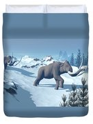 Two Large Mammoths Walking Slowly Duvet Cover by Elena Duvernay