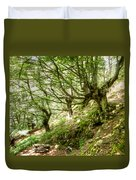 two little brothers Chasing Fairies in theBeech Forest on a summer day Duvet Cover
