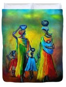 Two Little Girls Carrying Water Duvet Cover