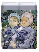 Two Little Girls Duvet Cover by Vincent Van Gogh