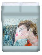 Two Lovers Kissing Duvet Cover