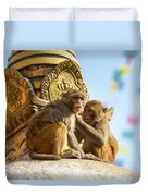 Two Macaques On Top Of Chorten Duvet Cover