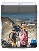 Two Male Hiker Stop To Look Duvet Cover