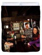Two Men And Two Women Having Beer Duvet Cover