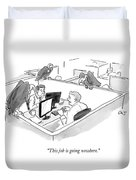 Two Men In A Small Cubicle Speak To Each Other Duvet Cover by Carolita Johnson
