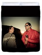 Two Men Share Stories As The Sun Sets Duvet Cover