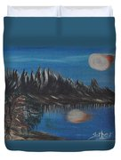 Two Moons That Meet In The Night Duvet Cover