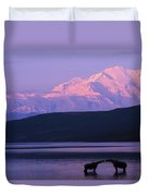 Two Moose Kiss In Wonder Lake Duvet Cover