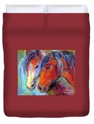 Two Mustang Horses Painting Duvet Cover