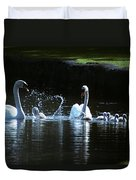 Two Mute Swans With Young Cygnus Olor Duvet Cover