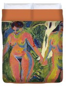 Two Nude Women In A Wood Duvet Cover