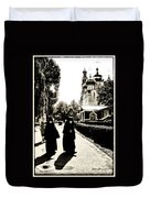 Two Nuns - Sepia - Novodevichy Convent - Russia Duvet Cover