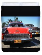 Two Old American Cars Duvet Cover
