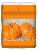 Two Orange Pumpkins Duvet Cover
