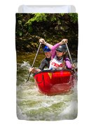 Two Paddlers In A Whitewater Canoe Making A Turn Duvet Cover