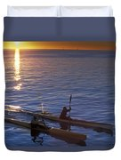 Two Paddlers In Sea Kayaks At Sunrise Duvet Cover