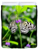 Two Paper Kite Or Rice Paper Or Large Tree Nymph Butterfly Also Known As Idea Leuconoe Duvet Cover